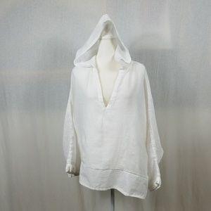 St. Tropez West 100% Linen Tunic Shirt L Hood Whit